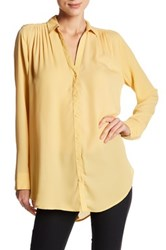 14Th And Union Long Sleeve Pleated Button Up Tunic Yellow