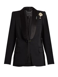 Marc Jacobs Satin Lapel Embellished Brooch Wool Tuxedo Jacket Black