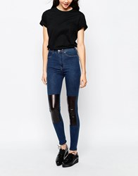 Dr. Denim Dr Denim Solitaire High Waisted Jean With Pu Patch R12midstonepatch