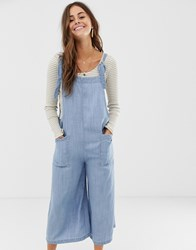 Moon River Chambray Jumpsuit With Large Pockets Blue