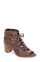 Vince Camuto Women's Tressa Perforated Lace Up Sandal Stone Taupe