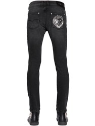 Versus 17Cm Lion Distressed Cotton Denim Jeans