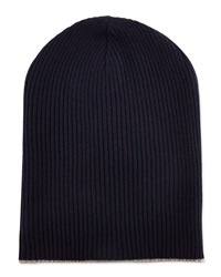 Brunello Cucinelli Cashmere Ribbed Hat W Foldover Brim Navy Oatmeal