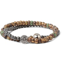 Luis Morais White Gold Diamond And Pyrite Bead Bracelet Brown