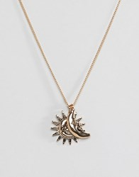 Monki Sun And Moon Necklace In Gold