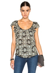 L'agence Larice Top In Green Animal Print Blue