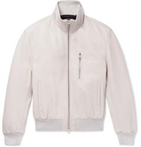 Dunhill Flyers Leather Bomber Jacket Off White