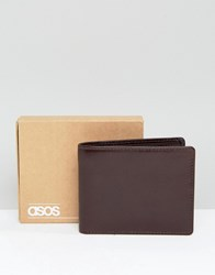 Asos Leather Wallet In Brown Patent Finish Brown