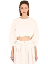 Brock Collection Cotton Poplin Crop Top White