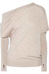 Tom Ford One Shoulder Cashmere And Silk Blend Sweater Mushroom