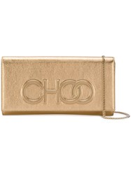 Jimmy Choo Debossed Logo Clutch Bag Gold