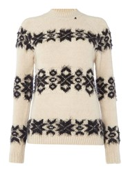 Replay Wool Blend Jumper With Embroidery Beige