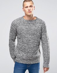 Brave Soul Marl Knit Jumper With Elbow Patches Black