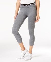 Energie Active Juniors' Poppy Cropped Graphic Leggings Heather Grey