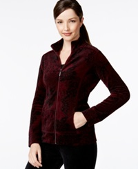 Style And Co. Sport Printed Zip Front Track Jacket Only At Macy's Merlot