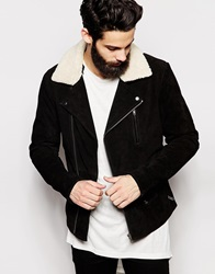 Asos Leather Jacket With Faux Shearling Black