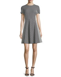 Lela Rose Short Sleeve Geometric Print Dress Black Ivory Black Ivor