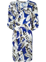 Roberto Cavalli Feather Print Shift Dress Blue