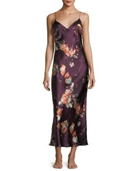 Meng Floral Print Sleeveless Silk Nightgown Multi Pattern