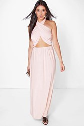 Boohoo Twist Front Halterneck Maxi Dress Blush
