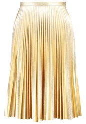 Topshop Petite Pleated Skirt Gold