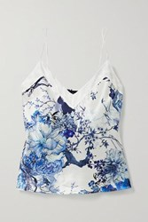 Meng Floral Print Silk Satin Camisole Ivory