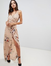 Girl In Mind Floral Wrap Front Maxi Dress Beige