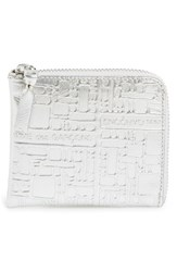 Men's Comme Des Garcons Embossed French Wallet Metallic Silver