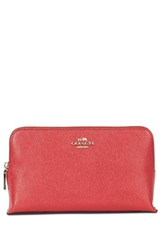 Coach Red Grained Leather Cosmetics Case