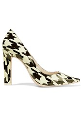 Sophia Webster Lola Houndstooth Patent Leather Pumps White
