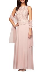 Petite Women's Alex Evenings Embroidered Chiffon Gown And Shawl