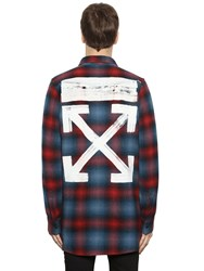 Off White Brushed Arrows Plaid Flannel Shirt