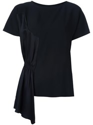 Maison Martin Margiela Mm6 Ruched Panel T Shirt Black