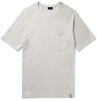 Lanvin Distressed Loopback Cotton Blend Jersey T Shirt Off White