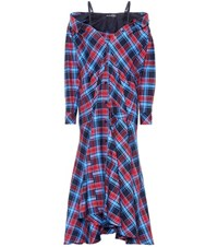 Anna October Plaid Cotton Dress Multicoloured