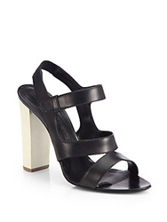 Narciso Rodriguez Leather Chunky Heel Sandals Black