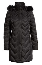 Marc New York Matte Satin Chevron Faux Fur Trim Coat Black