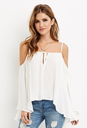 Forever 21 Drapey Open Shoulder Blouse Cream