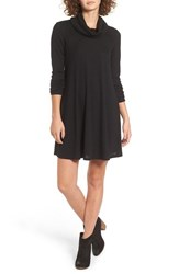Socialite Women's Maddie Rib Knit Cowl Shift Dress Solid Black
