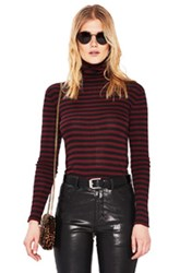 Saint Laurent Striped Turtleneck Fitted Sweater In Black Red Stripes Black Red Stripes