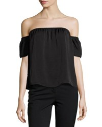 Lucca Couture Off The Shoulder Satin Top Black