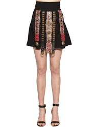 Fausto Puglisi Embellished Wool Crepe Skirt Black