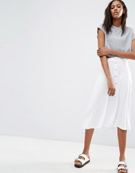 Asos Midi Skater Skirt With Poppers White