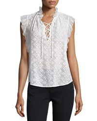 Rebecca Taylor Florence Embroidered Lace Up Top Black