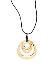 Stella Ruby Multi Circle Pendant Necklace Goldtone Gold Black