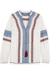 Talitha Kali Embroidered Cotton Voile Top White