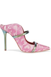 Malone Souliers Maureen Metallic Leather Trimmed Satin Jacquard Pumps Baby Pink