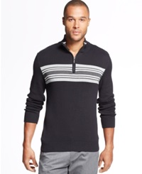 John Ashford Chest Stripe Quarter Zip Sweater Deep Black