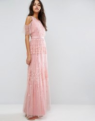 Needle And Thread Daisy Embroidery Maxi Dress With Cold Shoulder Bright Pink