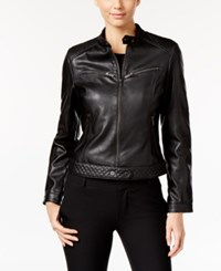 Rachel Roy Faux Leather Moto Jacket Black